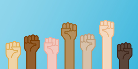 Multiracial fists up vector illustration