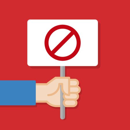 Hand holding white board with restriction sign.