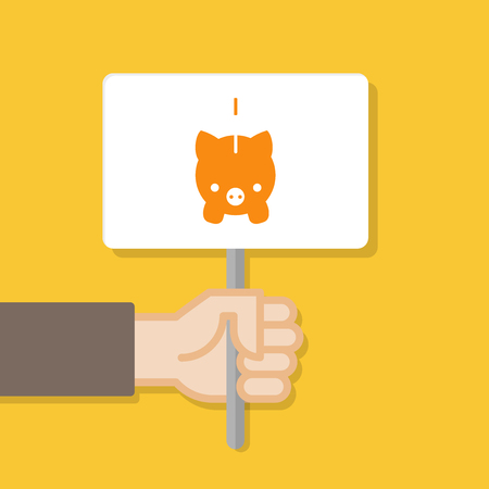 Hand holding white board. Banner with minimal icon. Concept of protest. Vector illustration, flat style.
