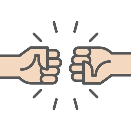 Fist bump icon flat illustration.
