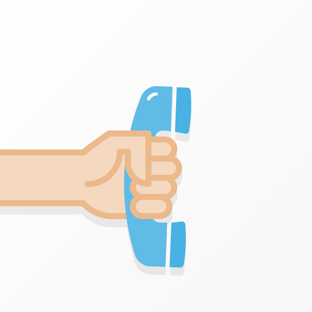 Hand holding old telephone. Handset in hand. Communication concept. Vector illustration, flat design