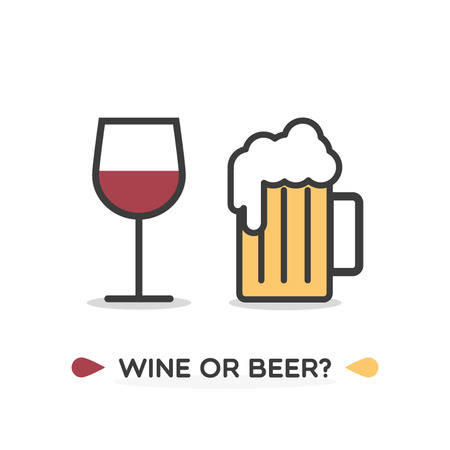 Glass of red wine and beer mug. Text: Wine or beer? Vector illustration, flat design