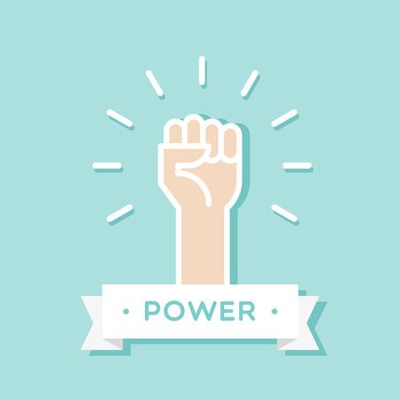 Fist up. Power concept. Vector illustration, flat design