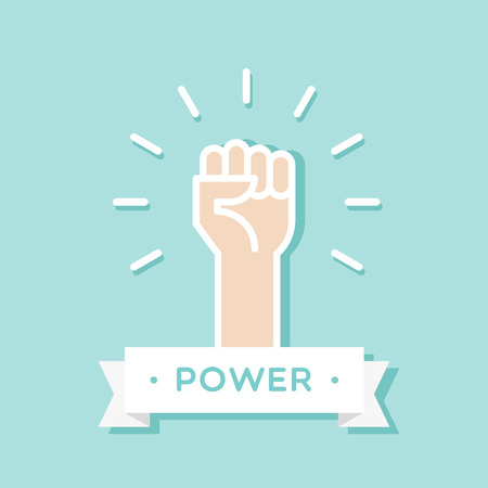 Fist up. Power concept. Vector illustration, flat design