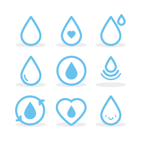Set: Water drops. Vector illustration, flat design