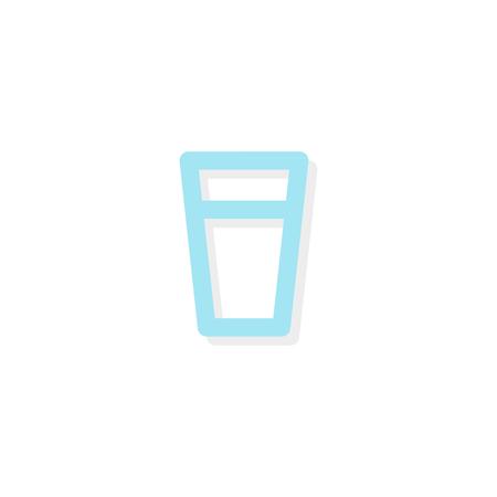 Glass of water icon vector illustration, flat design. 矢量图像