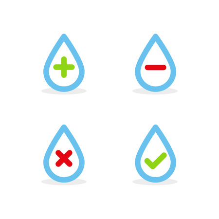 Set: Water drops with plus, minus, tick and cross symbols. Vector illustration, flat design.