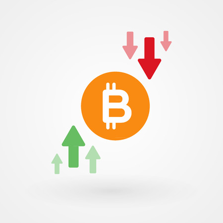 Bitcoin up and down graph. Crypto currency crisis concept. Digital currency risk. Vector illustration, flat design Ilustrace