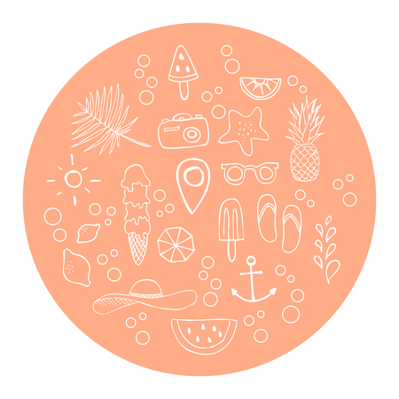 Set: hand drawn icons. Vector illustration