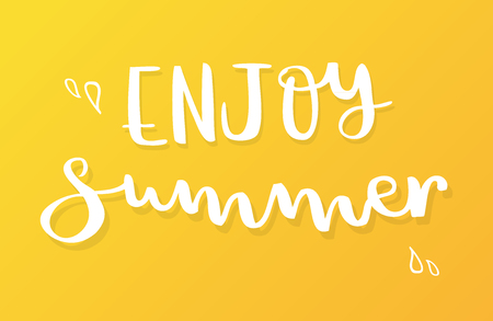 Enjoy summer lettering. Gradient background. Vector illustration, minimal design