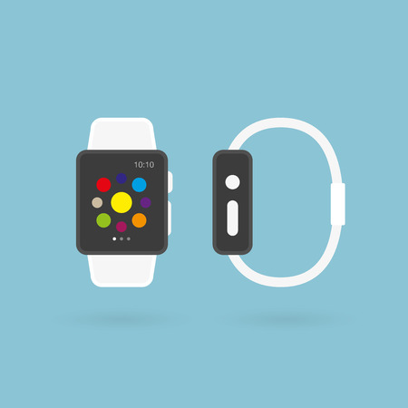 Smart watch. Top and side view. Vector illustration, flat design