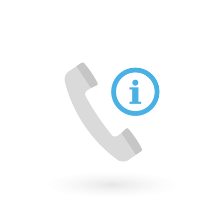 Retro telephone receiver icon isolated. Handset symbol. Information sign. Vector illustration, flat design