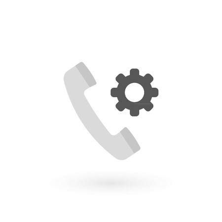 Retro telephone receiver icon isolated. Handset symbol. Settings sign. Vector illustration, flat design  イラスト・ベクター素材