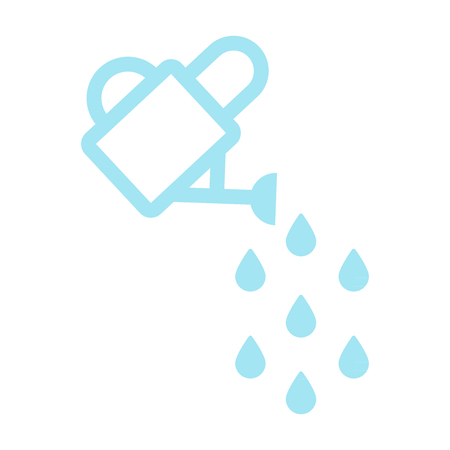 Watering can pouring drops water. Vector illustration, flat design Illustration