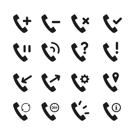 Retro black telephone receiver icon set. Plus, minus, cross, ok, pause, ringing, query, exclamation,incoming, outgoing, settings, gps, backup, 24 hours, information handset signs. Flat design  イラスト・ベクター素材