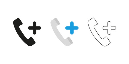 Retro telephone receiver. Three different styles: black, color and outline. Handset symbol. Positive sign. Vector illustration, flat design
