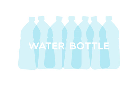 Translucent water bottles. Vector illustration, flat design