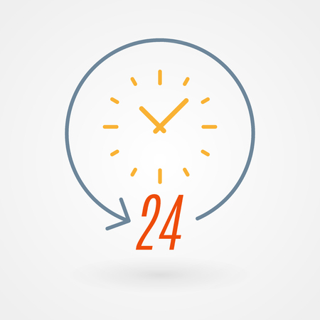 24 hours icon. Concept of 247, open 24 hours, customer service, emergency, open around the clock, call center, open everyday.  Vector illustration, flat design