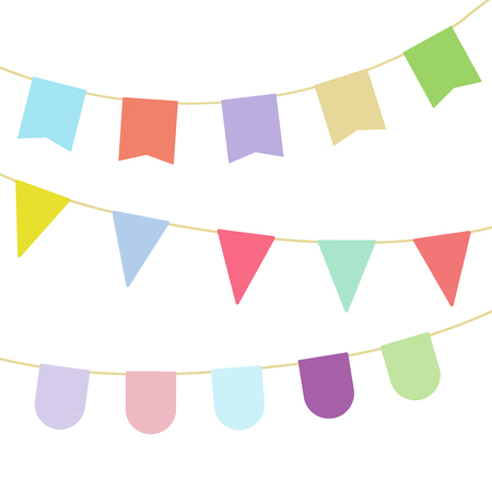 Colorful buntings garland. Different shapes. Vector illustration, flat design