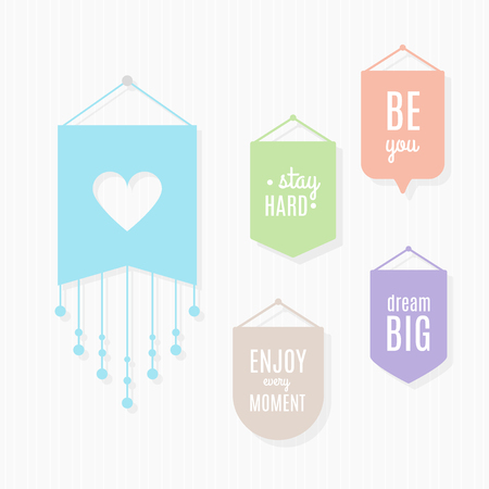 Pennants illustration with motivational quotes hanging on a wall. Vector illustration, flat design