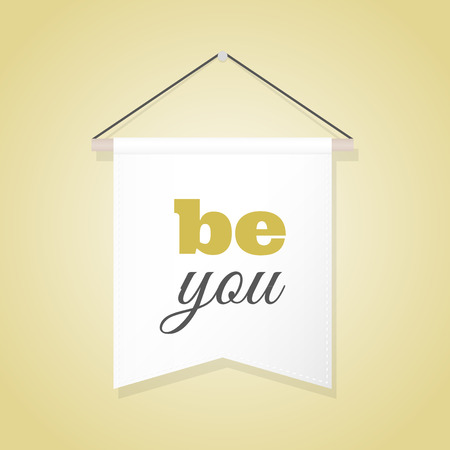 Pennant illustration with motivational quote: