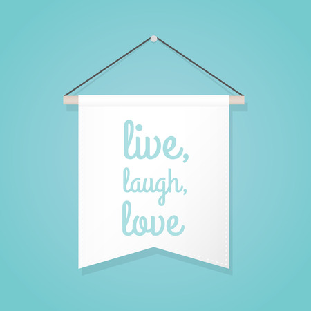 """Pennant illustration with motivational quote: """"Live, laugh, love"""". Vector illustration, flat design"""