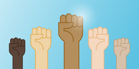 Multiracial fists hands up vector illustration. Concept of unity, revolution, fight, cooperation. Flat outline design. Illustration