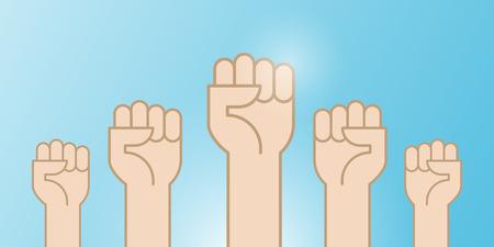 Fäuste Hände hoch Vektor-Illustration. Konzept der Einheit, Revolution, Kampf, Zusammenarbeit. Vektorillustration, flaches Design