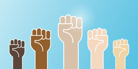 Multiracial fists hands up vector illustration. Concept of unity, revolution, fight, cooperation. Flat outline design. 일러스트