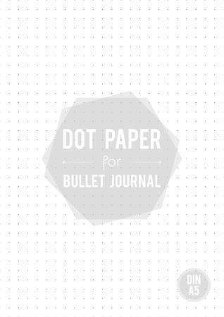Carta a griglia di punti. Formato A5. Per bullet journal. Illustrazione vettoriale, design minimale