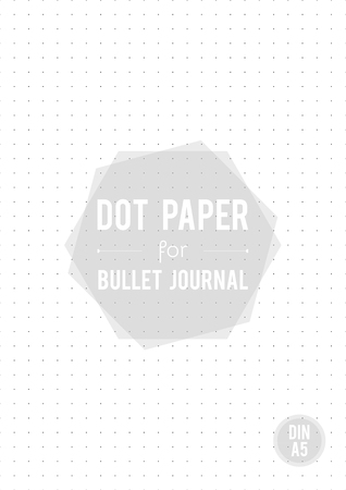 Dot grid paper. A5 size. For bullet journal. Vector illustration, minimal design