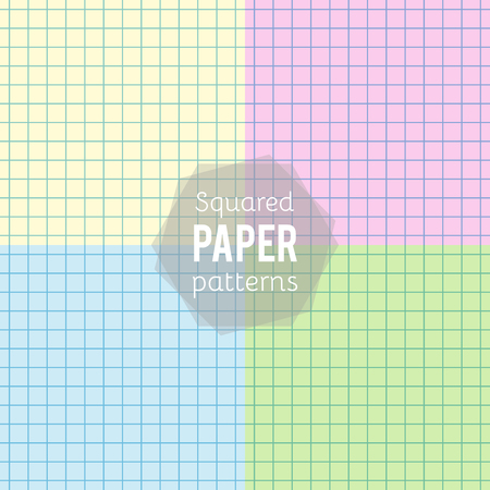 Set: paper patterns. Squared papers in different colors. Vector illustration