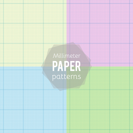 Set: paper patterns. Millimeter papers in different colors. Vector illustration