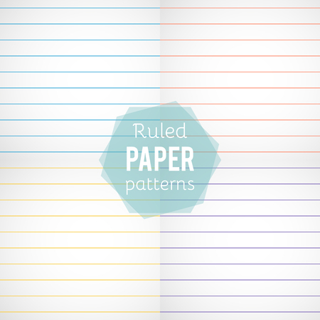 Set: paper patterns. Ruled papers in different colors. Vector illustration