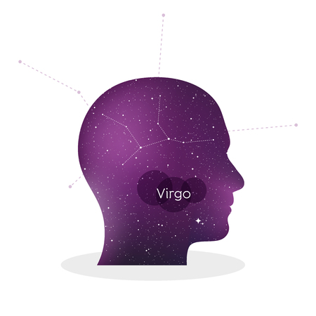 Virgo zodiac sign. Man portrait in profile. Horoscope symbol, linear constellation. Star universe texture. Vector illustration Ilustração