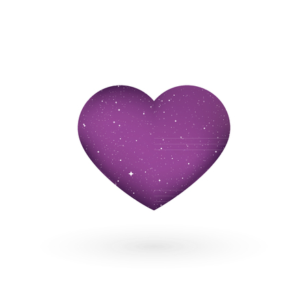 Heart shape with universe texture. Vector illustration