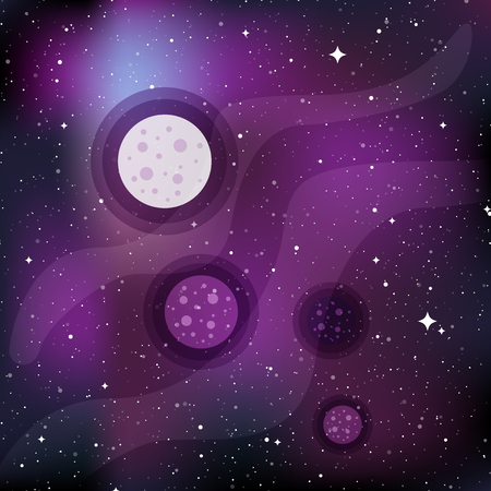 Star universe background with planets. Concept of galaxy, space, cosmos, space dust. Vector illustration