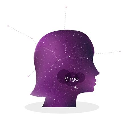 Virgo zodiac sign. Woman portrait in profile. Horoscope symbol, linear constellation. Star universe texture. Vector illustration