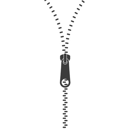 Icon zipper. Zippered lock and unlock. Closed and open zipper. Fastener. Vector illustration
