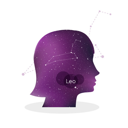 Leo zodiac sign. Woman portrait in profile. Horoscope symbol, linear constellation. Star universe texture. Vector illustration Ilustração