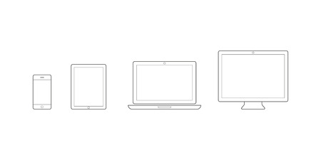 Device Icons: smartphone, tablet, laptop and desktop computer. Vector illustration, flat design Иллюстрация