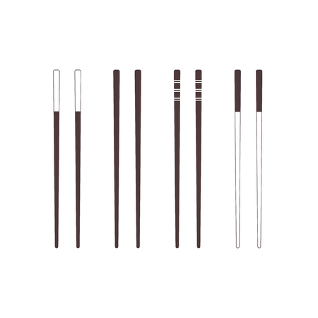Set: Chopsticks. Dark icons. Vector illustration, flat design