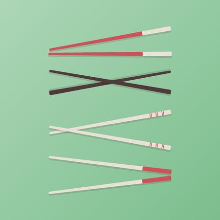 Set: Chopsticks. Green background. Vector illustration, flat design