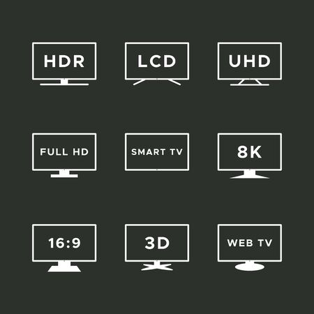 Smart TV icon set. White line TV screens isolated on black background. Web TV features: HDR, LCD, UHD, full HD, 8K, 16:9. Vector illustration, flat design Иллюстрация