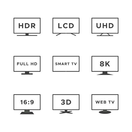 Smart TV icon set. Black line TV screens isolated on white background. Web TV features: HDR, LCD, UHD, full HD, 8K, 16:9. Vector illustration, flat design Иллюстрация