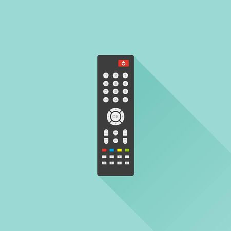 TV remote control with long shadow on turquoise background. TV remote controller. Vector illustration, flat design Çizim