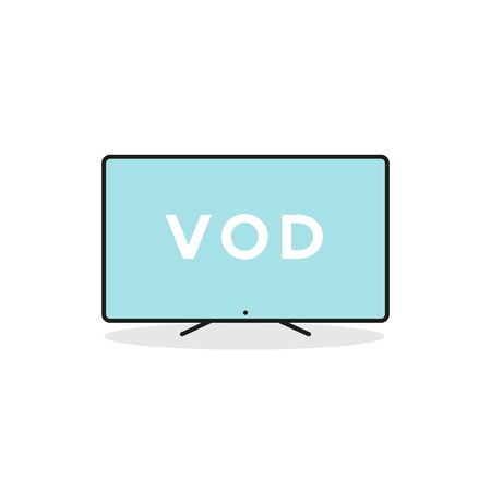 Smart TV device icon. Video on demand. Vector illustration, flat design