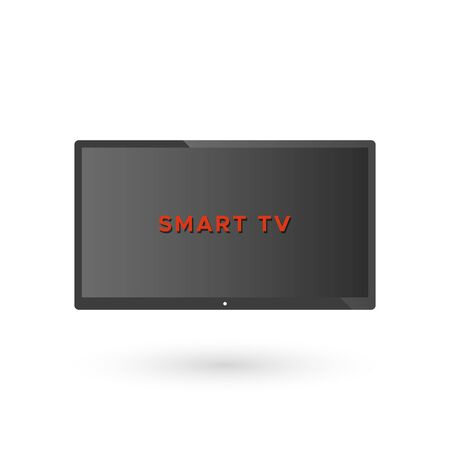 Smart TV screen with red text. Vector illustration, flat design Иллюстрация