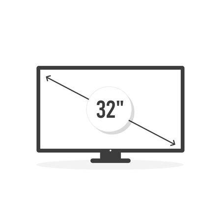 Smart TV icon. Diagonal screen size 32 inches. Vector illustration, flat design Иллюстрация