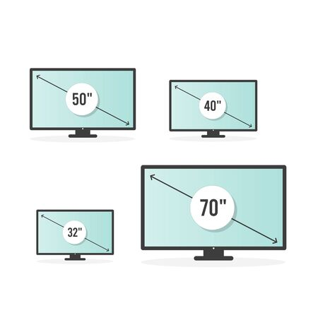 Smart TV icon set. Diagonal screen size in 32, 40, 50 and 70 inches. Lcd television display. Computer monitor. Vector illustration, flat design Иллюстрация
